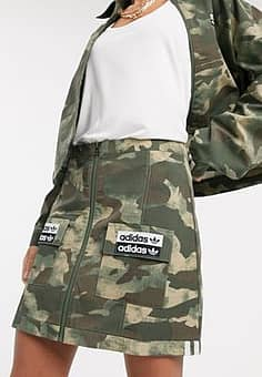 Adidas RYV patch pocket skirt in camo-Multi