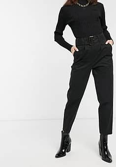 ASOS belted single pleat peg trousers with tortoiseshell buckle in black