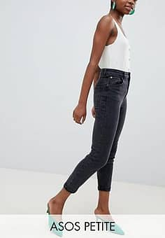 ASOS  DESIGN Petite high rise farleigh 'slim' mom jeans in washed black