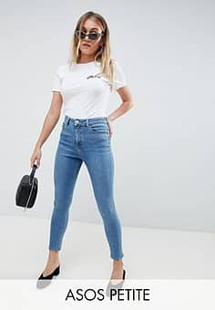 ASOS  DESIGN Petite high rise ridley 'skinny' jeans in pretty mid stonewash blue