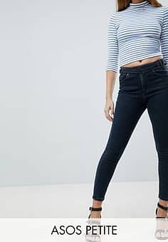 ASOS  DESIGN Petite Ridley high waist skinny jeans with double D-ring detail in viola deep blue wash