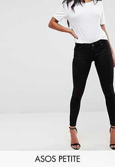 ASOS  DESIGN Petite Whitby low rise skinny jeans in clean black