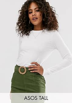 ASOS  DESIGN Tall ultimate organic cotton long sleeve crew neck t-shirt in white