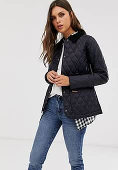 Barbour Annandale diamond quilt jacket with cord collar-Navy