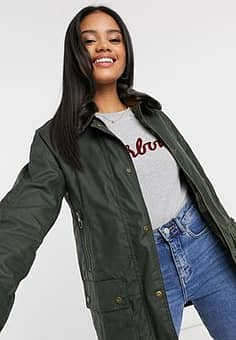 Barbour Coneflower wax jacket with faux fur collar in green