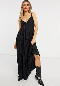 Bershka tiered maxi dress in black