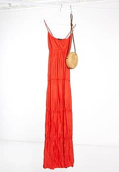 Bershka tiered maxi dress in red