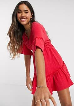 Billabong X Sincerely Jules Lovers Wish tiered mini smock dress in red