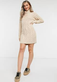 Brave Soul reni cable knit jumper dress with roll neck-Tan