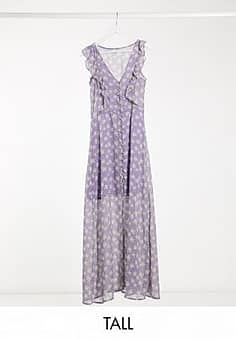 Brave Soul indigo frill front maxi dress in lilac ditsy floral print-Purple
