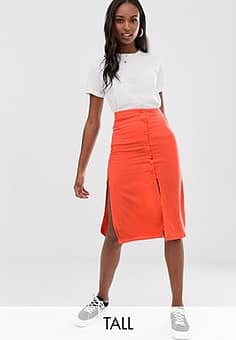 Brave Soul lyn midi skirt with button detail-Red