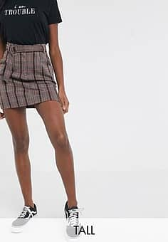 Brave Soul wilma mini skirt with D ring belt in red check-Multi
