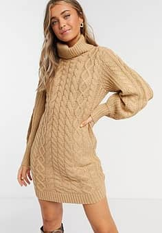 Brave Soul zincon cable knit jumper dress with balloon sleeves-Tan