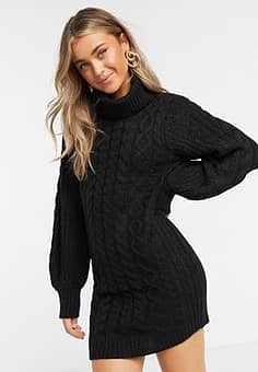 Brave Soul zincon cable knit jumper dress with balloon sleeves-Black