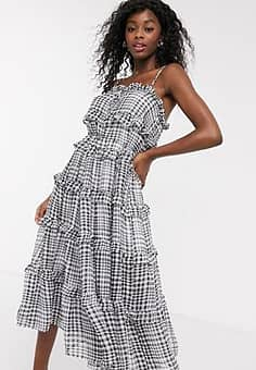 C/meo Collective Stealing Sunshine tiered ruffle check midi dress in black check
