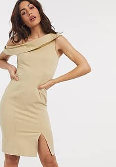 Closet off shoulder pencil dress with split in taupe-Brown