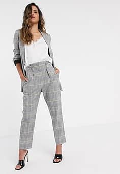 Closet tailored trouser in light check-Grey