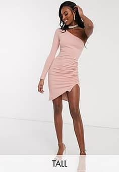 Club L one shoulder ruched side mini dress in pink