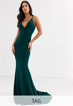 Club L plunge front strappy back maxi dress in green