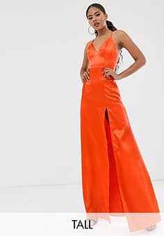 Club L satin plunge front maxi dress with high thigh split in orange