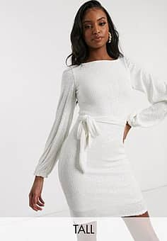 Club L sequin high neck long sleeve belted mini dress in white