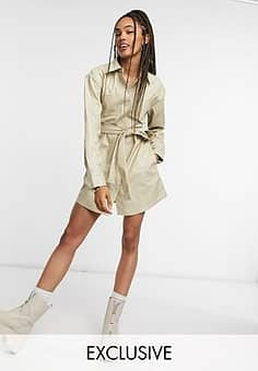 Collusion PU belted shirt dress in cream
