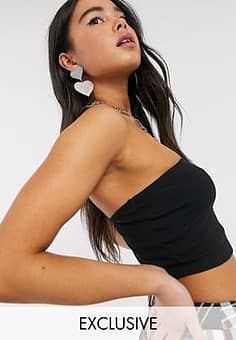 Collusion ribbed bandeau top in black