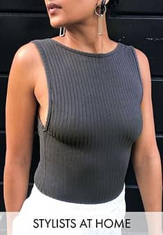 Collusion scoop back rib body in charcoal-Grey