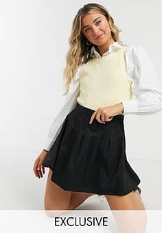 Daisy Street mini pleated tennis skirt-Black