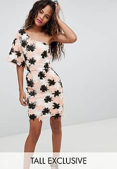 Dolly & Delicious Allover Embroidered Floral Lace One Shoulder Shift Dress-Multi
