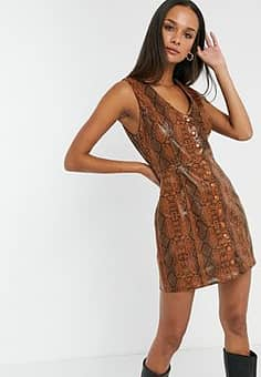 Emory Park button front mini dress in faux snake leather-Brown