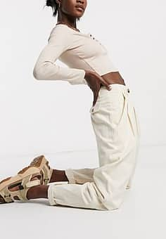 Emory Park high waist trousers with turn ups in off white