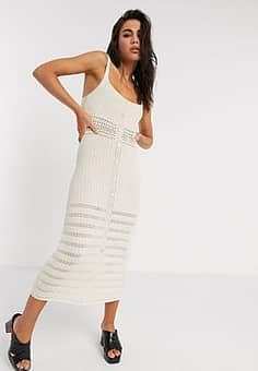 Emory Park midi dress with button down front in crochet-Multi