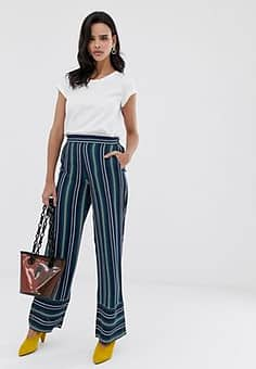 Esprit stripe wide leg trouser in navy and green stripes-Multi