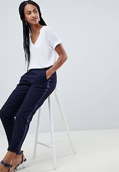 Esprit Striped Peg Leg Trousers in navy