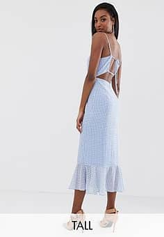 Fashion Union cami midi dress with peplum hem and lace up back in gingham-Blue