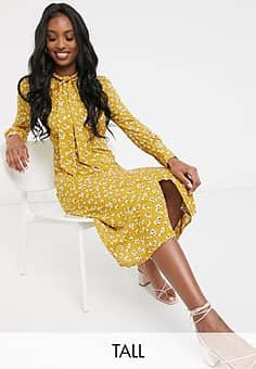 Fashion Union midi dress with high neck detail in retro floral priint-Yellow