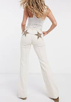 Free People Firecracker high waist flares in ivory-Cream