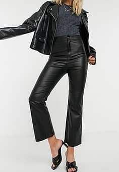 Free People Sasha croped faux leather trousers in black
