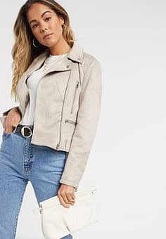 French Connection aimee suedette biker jacket-Pink