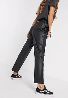 French Connection coated tie waist trouser in black