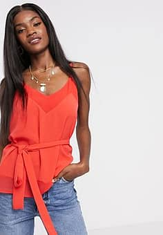 French Connection crepe light solid belted cami in red
