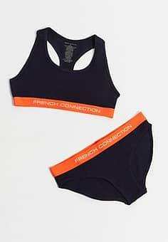 French Connection logo bra and brief set in navy
