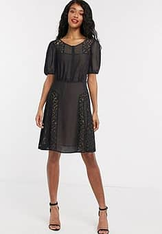 French Connection mesh cap sleeve skater dress in black