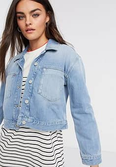 French Connection Palmira Denim Cropped Jacket-Blue