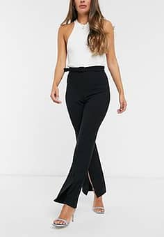 French Connection split leg high waisted trousers in black
