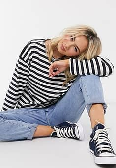 French Connection stripe long sleeve tee in blue and white-Multi