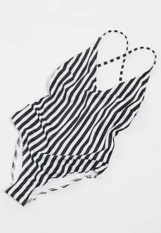 French Connection Stripey Racer Back Swimsuit-Multi