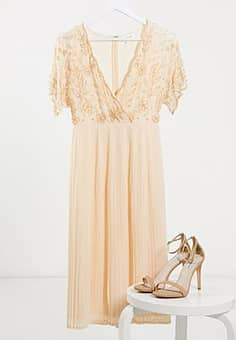 Frock And Frill 2 in 1 pleated midi dress with scalloped front and embellishment in pink