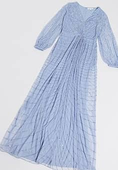 Frock And Frill all over embellished maxi with knot detail in blue